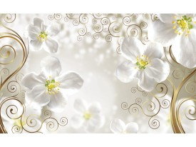 Fotobehang Papier Bloemen | Goud, Wit | 368x254cm