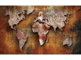 Fotobehang Papier Wereldkaart   Bruin, Oranje   254x184cm