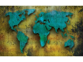 Fotobehang Papier Wereldkaart | Turquoise, Groen | 254x184cm