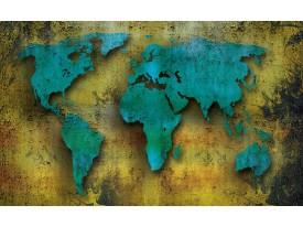 Fotobehang Wereldkaart   Turquoise, Groen   416x254