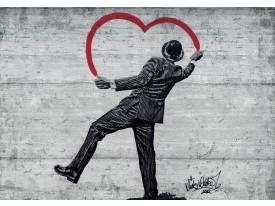 Fotobehang Street Art | Zwart, Rood | 208x146cm