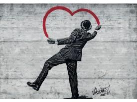 Fotobehang Vlies | Street Art | Zwart, Rood | 368x254cm (bxh)