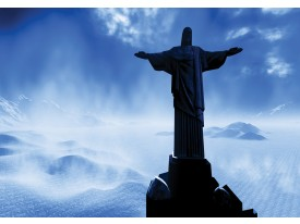 Fotobehang Vlies | Brazilië, Jezus | Blauw, Zwart | 368x254cm (bxh)