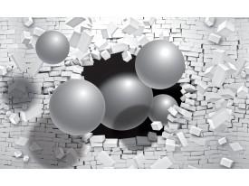 Fotobehang Vlies | 3D, Muur | Zilver | 368x254cm (bxh)