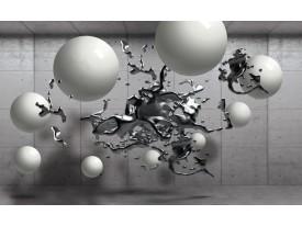 Fotobehang Abstract, 3D | Zilver | 208x146cm