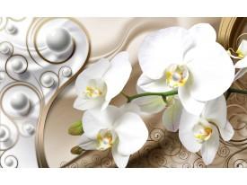 Fotobehang Orchidee, Bloemen   Zilver, Goud   208x146cm
