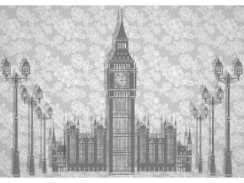 Fotobehang Big Ben | Grijs | 312x219cm