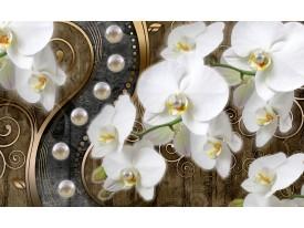 Fotobehang Vlies | Orchidee, Bloemen | Wit, Goud | 368x254cm (bxh)