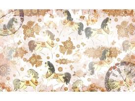 Fotobehang Papier Paarden | Bruin, Crème | 254x184cm