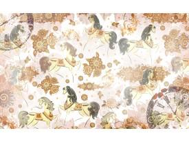 Fotobehang Vlies | Paarden | Bruin, Crème | 368x254cm (bxh)