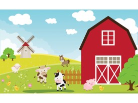 Fotobehang Kinderboerderij | Rood, Groen | 208x146cm