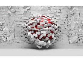 Fotobehang Vlies | 3D, Muur | Rood, Wit | 368x254cm (bxh)