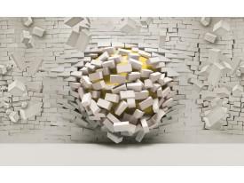 Fotobehang 3D, Muur | Geel, Crème | 416x254