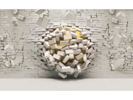 Fotobehang Vlies | 3D, Muur | Geel, Crème | 368x254cm (bxh)