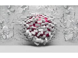 Fotobehang Vlies | 3D, Muur | Roze, Grijs | 368x254cm (bxh)