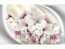Fotobehang Papier Magnolia, Bloemen | Zilver | 254x184cm