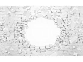 Fotobehang Muur, 3D | Wit | 312x219cm