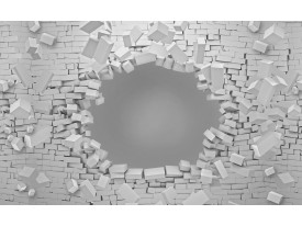 Fotobehang Vlies   Muur, 3D   Grijs   368x254cm (bxh)