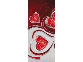 Deursticker Muursticker Abstract | Rood | 91x211cm