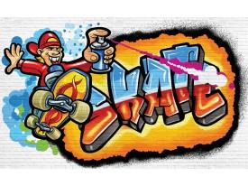 Fotobehang Papier Graffiti | Blauw, Oranje | 368x254cm