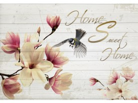 Fotobehang Papier Magnolia, Hout | Crème | 254x184cm