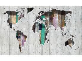 Fotobehang Vlies | Wereldkaart | Grijs, Groen | 368x254cm (bxh)