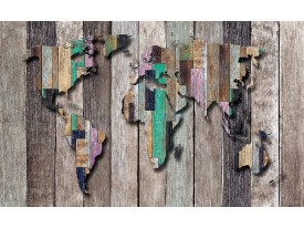 Fotobehang Wereldkaart, Hout   Grijs, Bruin   152,5x104cm