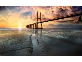 Fotobehang Brug, Zee | Geel | 416x254
