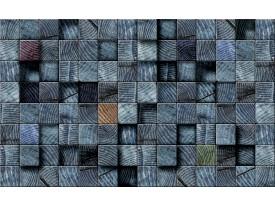 Fotobehang Hout | Blauw | 312x219cm