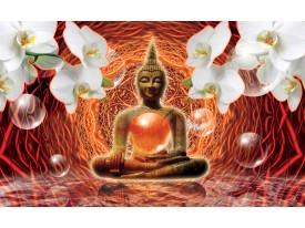 Fotobehang Vlies | Boeddha, Orchidee | Oranje | 368x254cm (bxh)