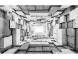 Fotobehang 3D, Hout   Grijs   416x254