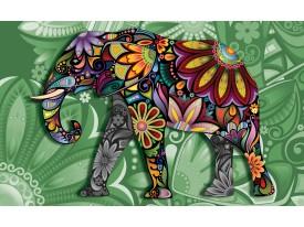 Fotobehang Vlies | Olifant, Abstract | Groen | 368x254cm (bxh)