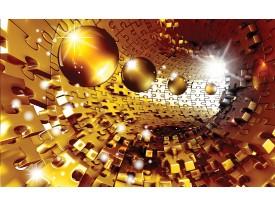 Fotobehang Vlies | 3D, Abstract | Goud | 368x254cm (bxh)