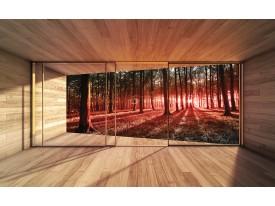Fotobehang Bos, Modern | Rood | 104x70,5cm