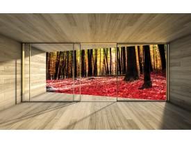 Fotobehang Vlies | Bos, Modern | Rood | 368x254cm (bxh)