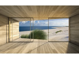 Fotobehang Papier Strand, Modern | Blauw | 368x254cm