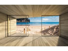 Fotobehang Vlies | Strand, Hout | Blauw | 368x254cm (bxh)