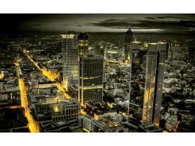 Fotobehang Skyline, Nacht | Geel | 104x70,5cm