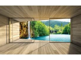 Fotobehang Natuur, Waterval | Groen | 312x219cm