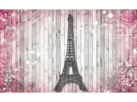 Fotobehang Hout, Parijs | Roze | 312x219cm
