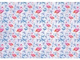 Fotobehang Papier Flamingo, Bloemen | Roze | 254x184cm