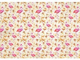 Fotobehang Flamingo, Bloemen | Roze | 416x254