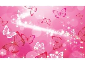 Fotobehang Papier Abstract, Vlinder | Roze | 254x184cm