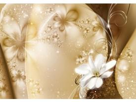 Fotobehang Papier Bloemen, Design | Goud | 254x184cm