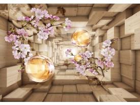 Fotobehang Vlies | Hout, Bloemen | Paars | 368x254cm (bxh)
