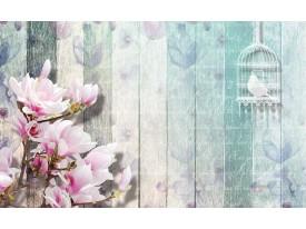 Fotobehang Papier Hout, Bloemen | Roze | 368x254cm