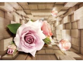 Fotobehang Vlies | Hout, 3D | Roze | 368x254cm (bxh)