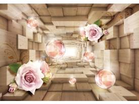 Fotobehang 3D, Hout   Roze   208x146cm