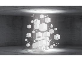 Fotobehang Papier 3D, Betonlook | Grijs | 254x184cm