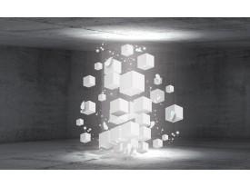 Fotobehang Vlies | 3D, Betonlook | Grijs | 368x254cm (bxh)